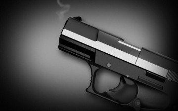 оружие, пистолет, черно-белая