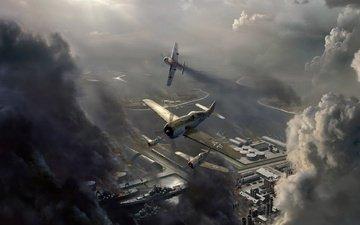 небо, облака, самолет, война, авиаудар