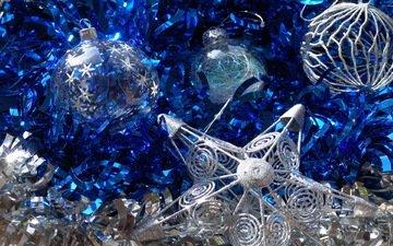 новый год, синий, звезда, шарики, игрушки, праздник, мишура, сверкающее