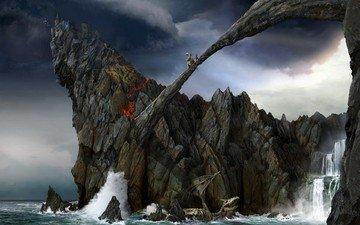rocks, waterfall, battle