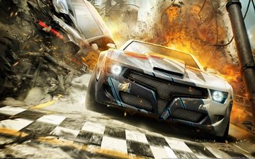 cg wallpapers, explosions, race, car, split-second, black rock studio, racing