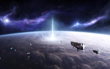 космос, корабли, звезды, планета, атмосфера, астероиды, взрыв, stefan veselinov, the experiment