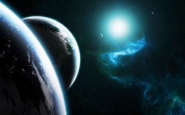 звезды, планеты, туманность, голубая, planets, космическая, синхронность, звезд