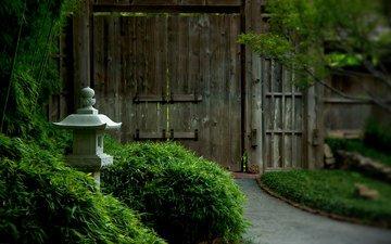 кусты, ворота, светильник