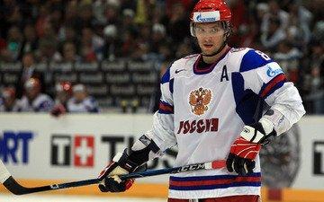 обои, шлем, хоккей, хоккеист, сборная россии, клюшка, лёд, форма, герб, александр овечкин