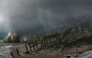 берег, замок, готика, дождь, arcania a gothic tale