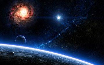 звезды, планеты, голубая, galaxies, planets, космическая, звезд