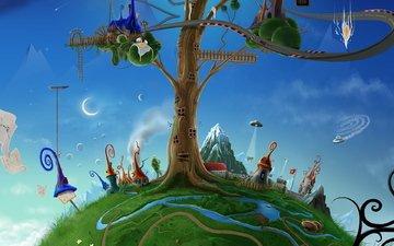 дерево, домики, нло, месяц, david fuhrer, лесенка