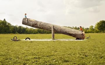 children, swing, log