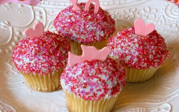 розовый, глазурь, кекс, маффины
