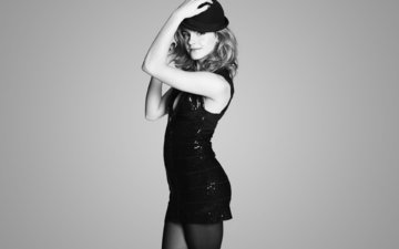 dress, black, white, hat, emma, watson