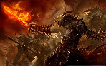 меч, огонь, guild wars 2, призыв, огненная