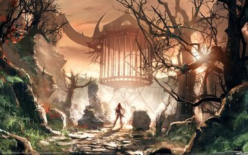 mountains, warrior, cell, heavenly sword