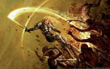 девушка, воин, меч, кровь, монстры, доспехи, hellgate london