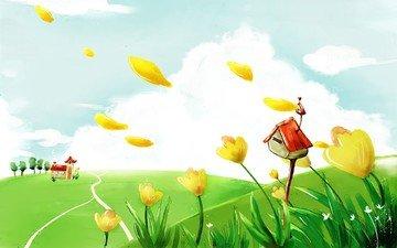 цветы, рисунок, облака, лето, дом