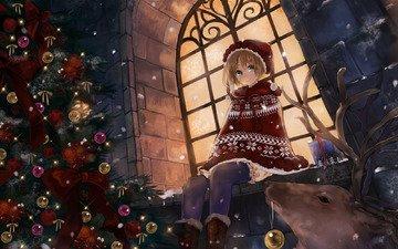 ночь, снег, новый год, олень, украшения, зима, снежинки, аниме, девочка, улица, шарики, игрушки, окно, праздник, снегурочка, ёлочка