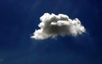 небо, облака, синий