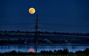 ночь, пейзаж, луна