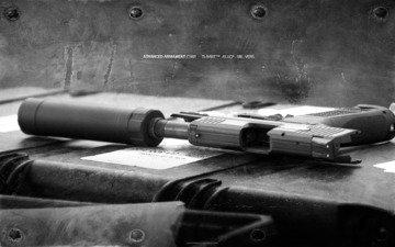 metal, gun, muffler