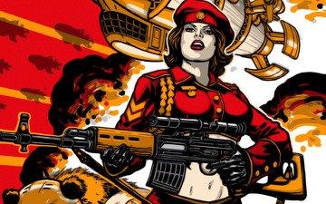 girl, red alert 3, svd, russians