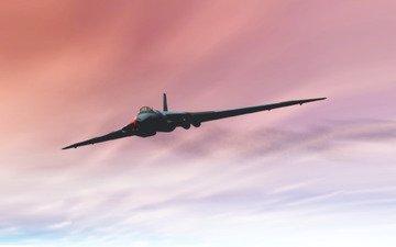 небо, самолет, рендеринг, бомбардировщик