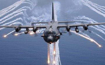 самолет, море, огонь, lockheed ac-130h spectre