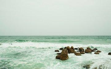 небо, вода, камни, волны, море, брызги, океан, пена