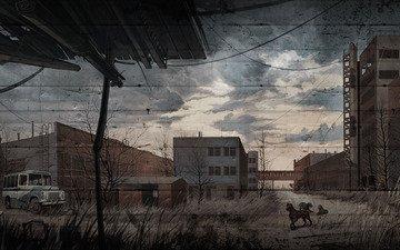 арт, рисунок, сталкер, зов припяти, собаки, s.t.a.l.k.e.r. call of pripyat, завод юпитер, слепые псы