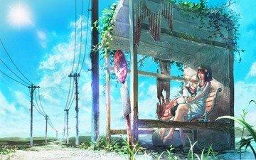 небо, солнце, япония, вокзал, голубое, остановка, ожидание, жаркое лето