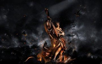 огонь, птицы, статуя, пепел