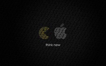 think new, pac-man, эппл