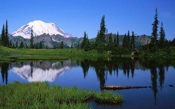 небо, трава, вода, озеро, горы, природа, пейзаж, на природе, валлпапер