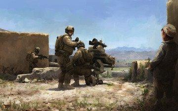 оружие, война, солдаты, маленький, мальчик, обстрел, селения