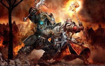 воин, молот, бой, доспехи, warhammer