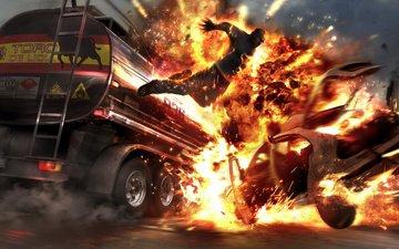 fire, the explosion, wheelman tankerjump, boom, burning man