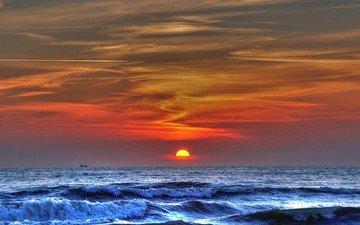 волны, закат