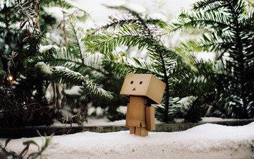 снег, зима, ветви, елки, данбо