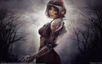 девушка, шлем, дождь, костюм, скафандр, zsolt derka, pepper new dawn