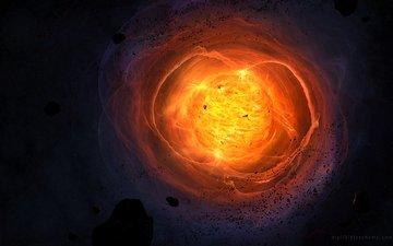 звезда, астероиды, взрыв