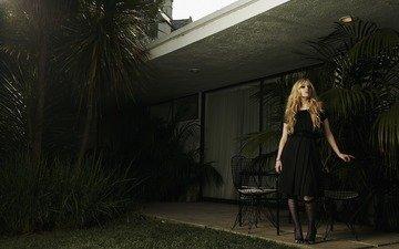 платье, блондинка, певица, черное, аврил лавин, lavigne, аврил