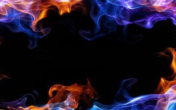 цвета, дым, черный фон