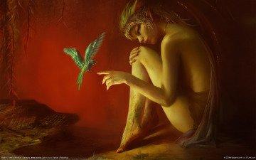 девушка, красный, птица, эльф, benita winckler - hush