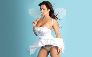 brunette, wings, fairy, costume