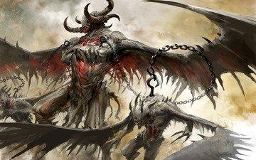 демоны, крылья, guild wars 2, рога, цепь, крюк