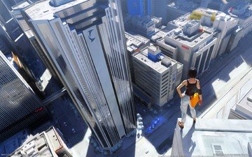 девушка, город, крыша, небоскрёб