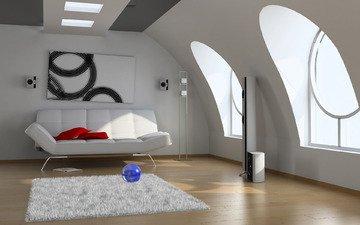 стиль, картина, комната, окна, ковер, диван, колонки
