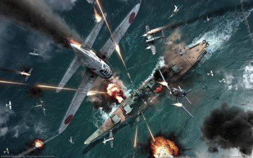 самолет, война, корабль, авианосец, вой