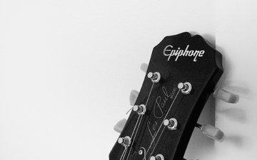 гитара, музыка, чёрно-белое, гриф, читара