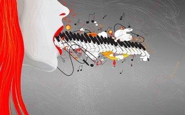 рисунок, девушка, музыка