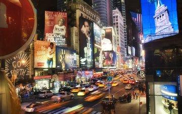 ночь, небоскребы, машины, times square at night, нью - йорк